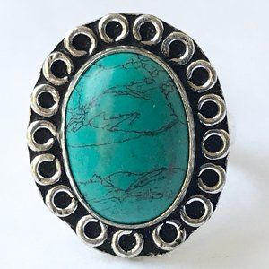 Silver Turquoise Boho Flower Cocktail Ring Size 6